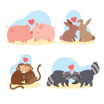 Coleção de diferentes casais de animais