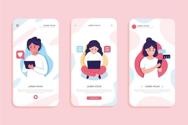 Coleção de diferentes conceitos de aplicativos