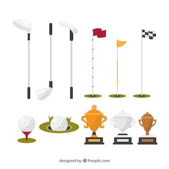 Coleção de diferentes elementos de golfe