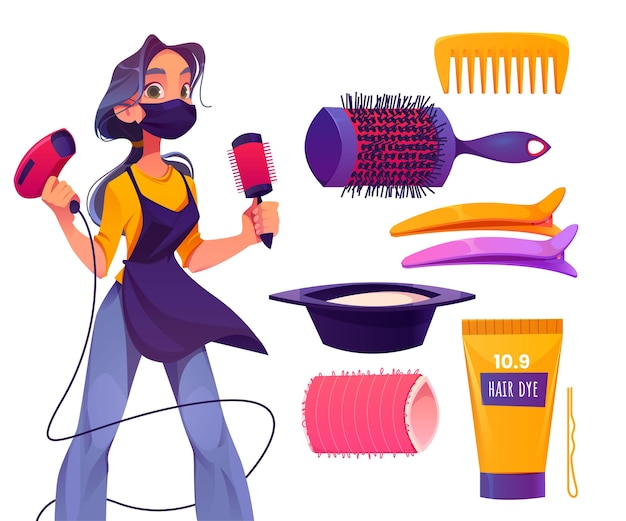 Coleção de diferentes elementos de salão de cabeleireiro