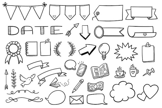 Coleção de diferentes elementos do diário com marcadores