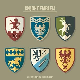Coleção de diferentes emblemas de cavaleiros