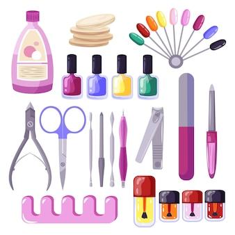 Coleção de diferentes ferramentas de manicure