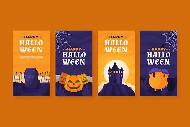 Coleção de diferentes histórias do instagram de halloween