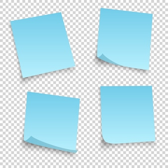 Coleção de diferentes lençóis azuis. nota de papéis com canto enrolado isolado no fundo transperent.
