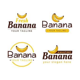 Coleção de diferentes logotipos de banana