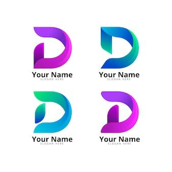 Coleção de diferentes logotipos de gradiente d