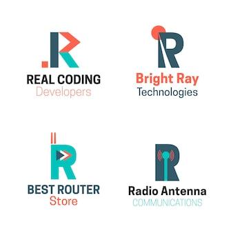 Coleção de diferentes logotipos flat r