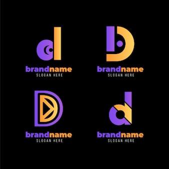 Coleção de diferentes logotipos gradientes d