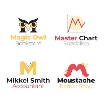 Coleção de diferentes logotipos planos m