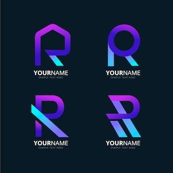 Coleção de diferentes logotipos r gradiente