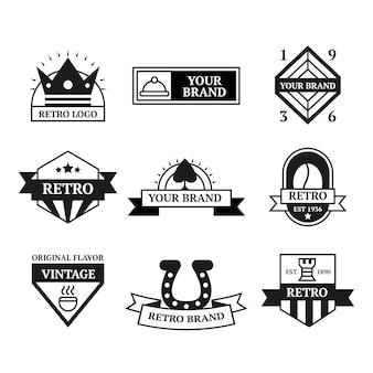 Coleção de diferentes logotipos retrô
