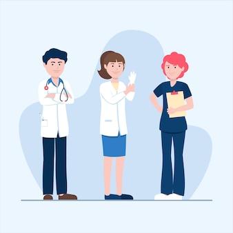 Coleção de diferentes médicos equipados