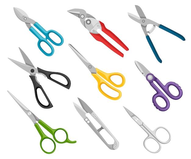 Coleção de diferentes modelos de tesouras. ferramentas de corte manual, tesouras de equipamentos para cabeleireiro, jardinagem, médicos. ilustração em fundo branco