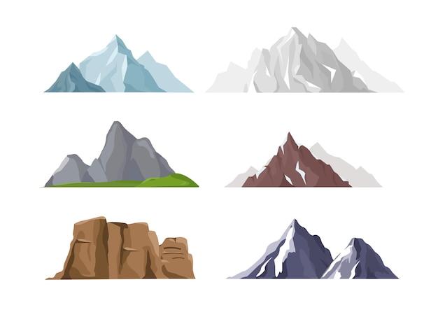 Coleção de diferentes montanhas e colinas isolada no fundo branco.