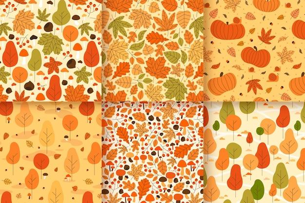 Coleção de diferentes padrões criativos de outono