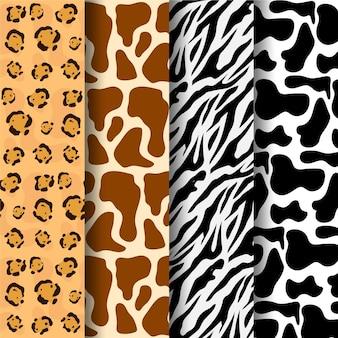 Coleção de diferentes padrões de estampas de animais