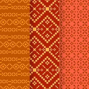 Coleção de diferentes padrões de songket