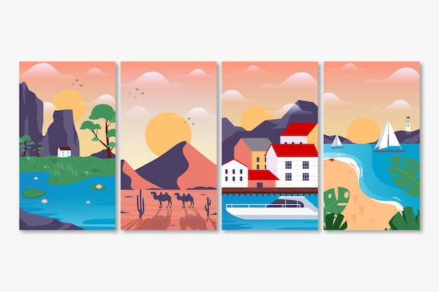 Coleção de diferentes paisagens