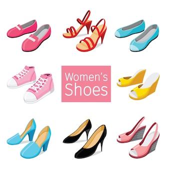 Coleção de diferentes pares de sapatos femininos