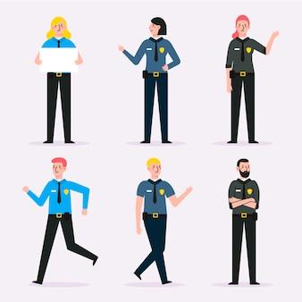 Coleção de diferentes policiais