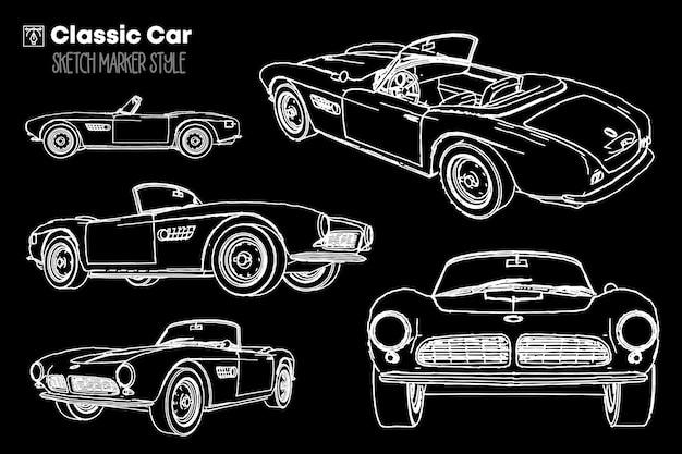 Coleção de diferentes pontos de vista de silhuetas de carros clássicos. desenhos de efeito de marcador.