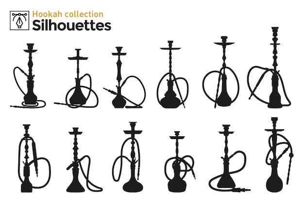 Coleção de diferentes pontos de vista de silhuetas de narguilé. desenhos de efeito de marcador.