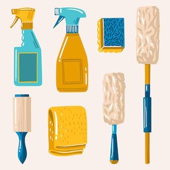 Coleção de diferentes produtos de limpeza de superfícies