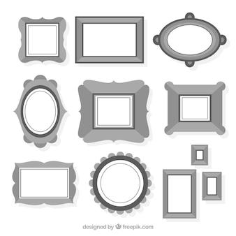 Coleção de diferentes quadros em preto e branco