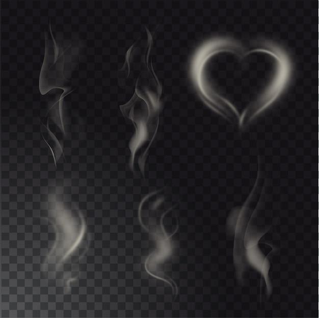 Coleção de diferentes realistas altos detalhados fuma de comida quente ou bebida isolado em fundo transparente