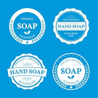Coleção de diferentes rótulos de sabonetes