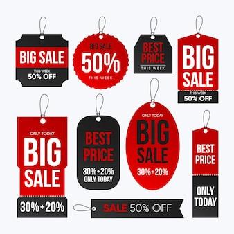 Coleção de diferentes tags de venda