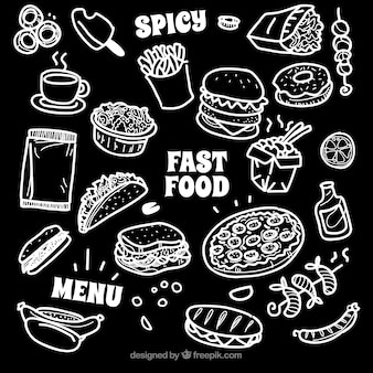 Coleção de diferentes tipos de alimentos em estilo de giz