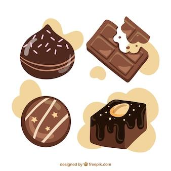 Coleção de diferentes tipos de chocolate