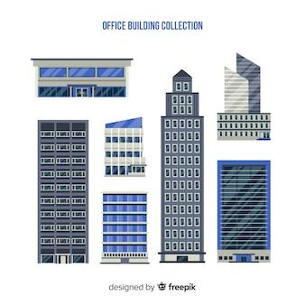 Coleção de diferentes tipos de edifícios de escritórios