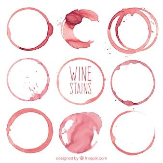 Coleção de diferentes tipos de manchas de vinho