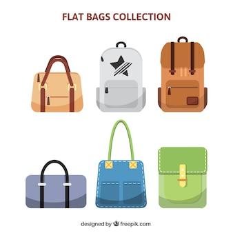 Coleção de diferentes tipos de sacos