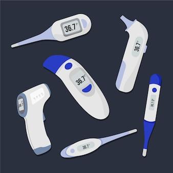 Coleção de diferentes tipos de termômetros