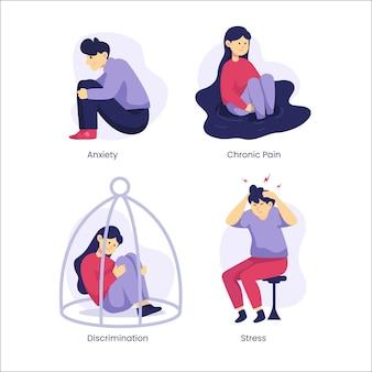 Coleção de diferentes transtornos mentais de design plano