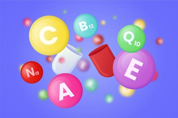 Coleção de diferentes vitaminas coloridas
