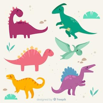 Coleção de dinossauro plana colorida