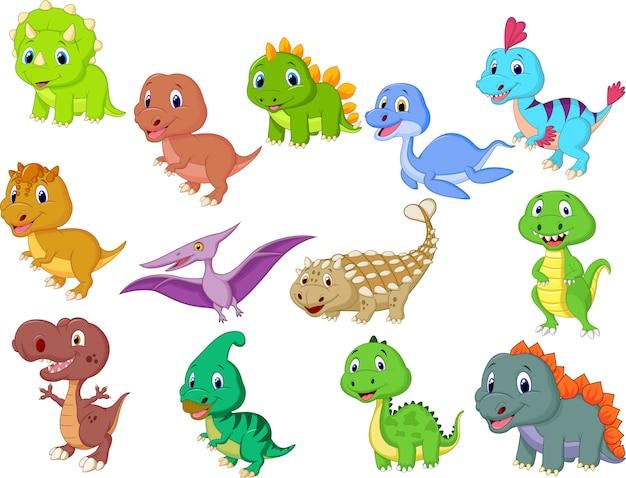 Coleção de dinossauros bebê fofo