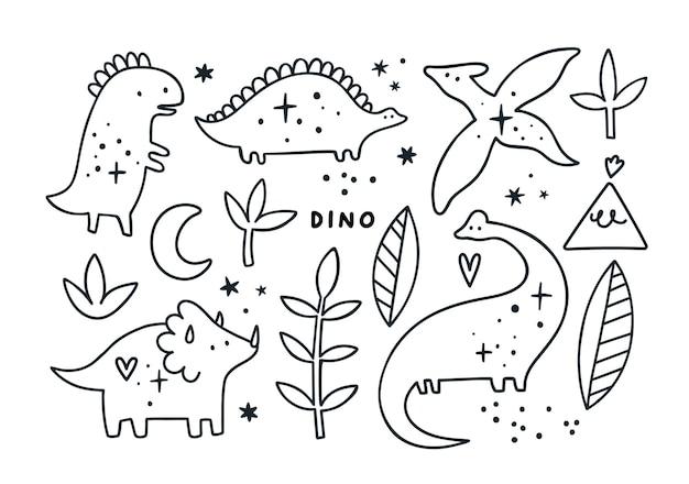 Coleção de dinossauros de contornos de bebê fofo Vetor Premium