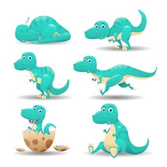 Coleção de dinossauros de desenho animado