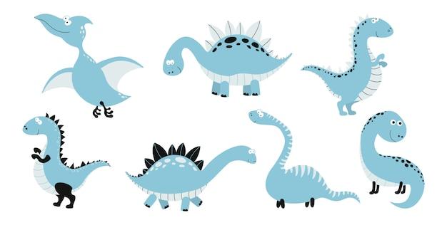 Coleção de dinossauros de desenho animado.