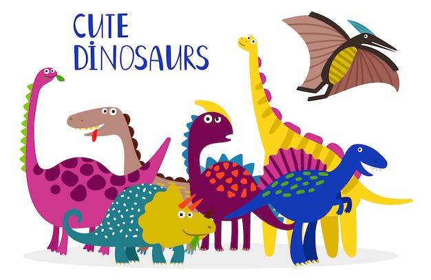 Coleção de dinossauros dos desenhos animados