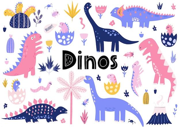 Coleção de dinossauros fofa com seus dinossauros de bebê