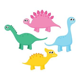 Coleção de dinossauros isolado no fundo branco.