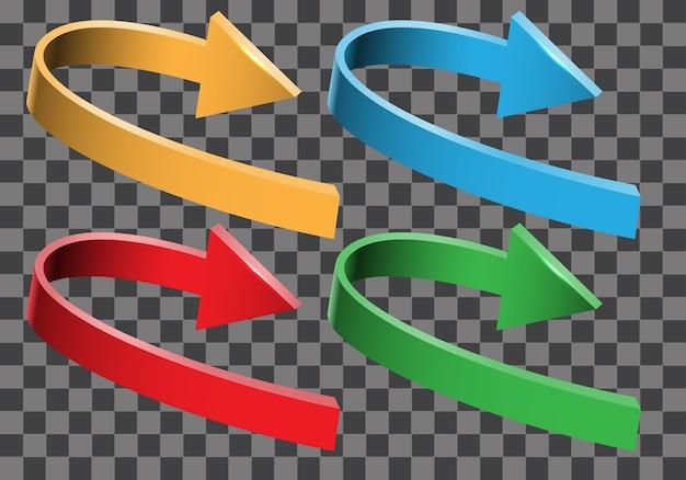 Coleção de direção de curva 3d seta cor definida