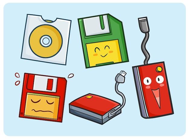 Coleção de discos divertida e fofa em estilo doodle